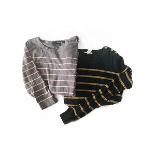 Forever 21 Bundle Striped Long Sleeve Knit Tops